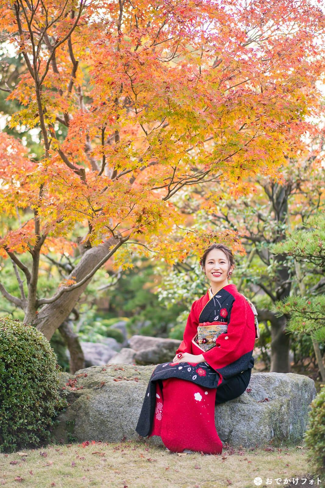 大濠公園の日本庭園で成人式前撮り