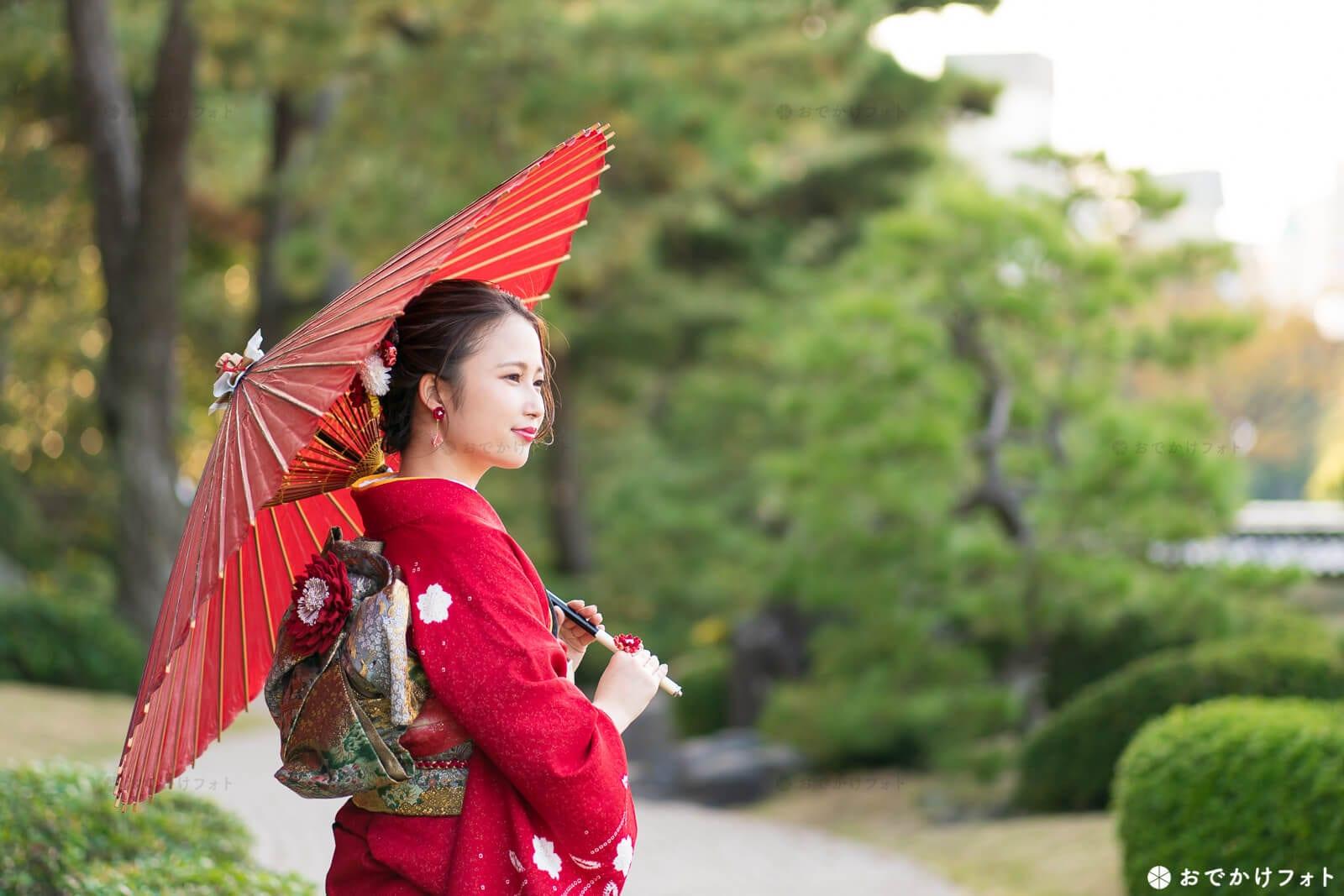 番傘を持って成人式前撮り