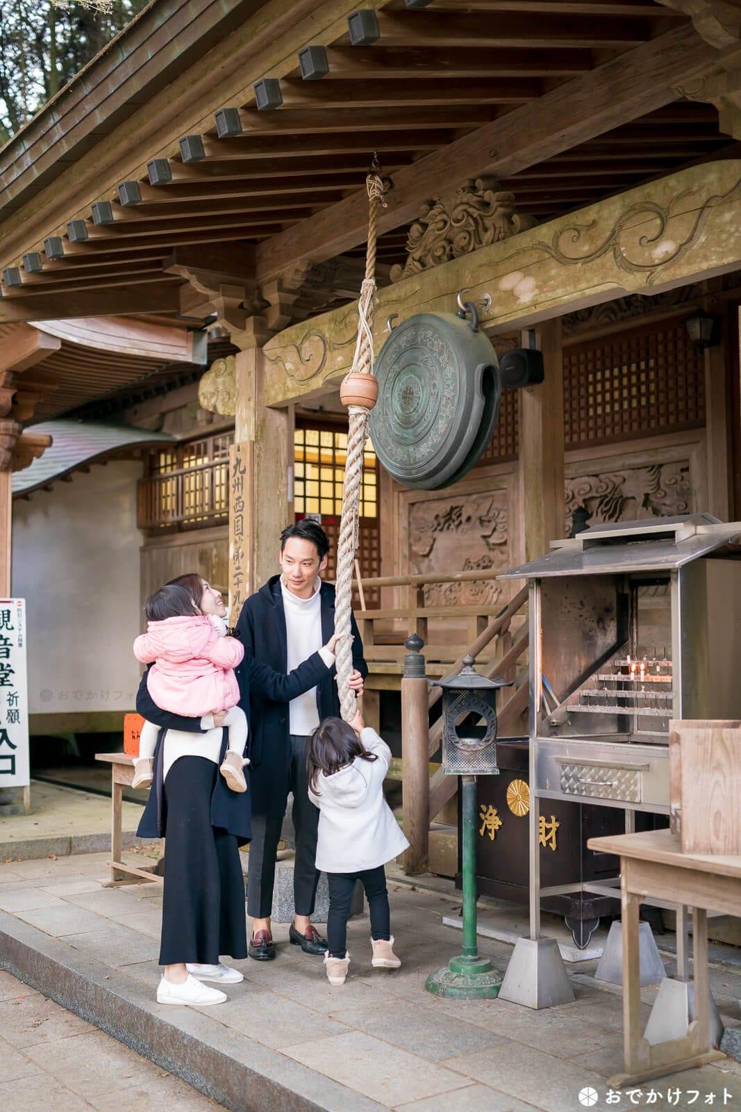 糸島の千如寺で家族写真