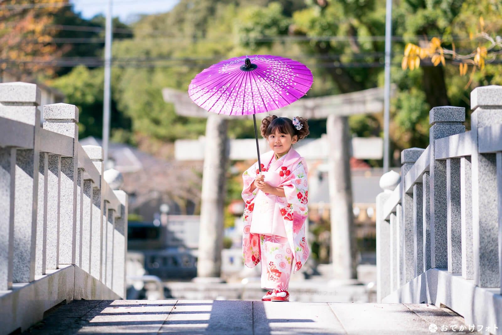 春日神社向かいの池にかかる石橋