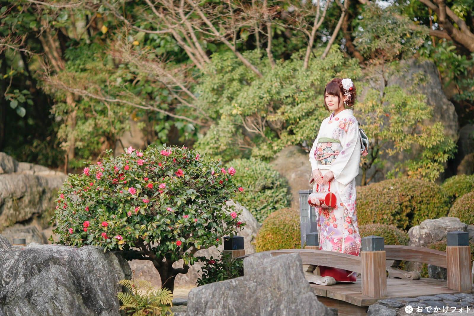 福岡大濠公園日本庭園で成人式ロケーションフォト前撮りの出張撮影