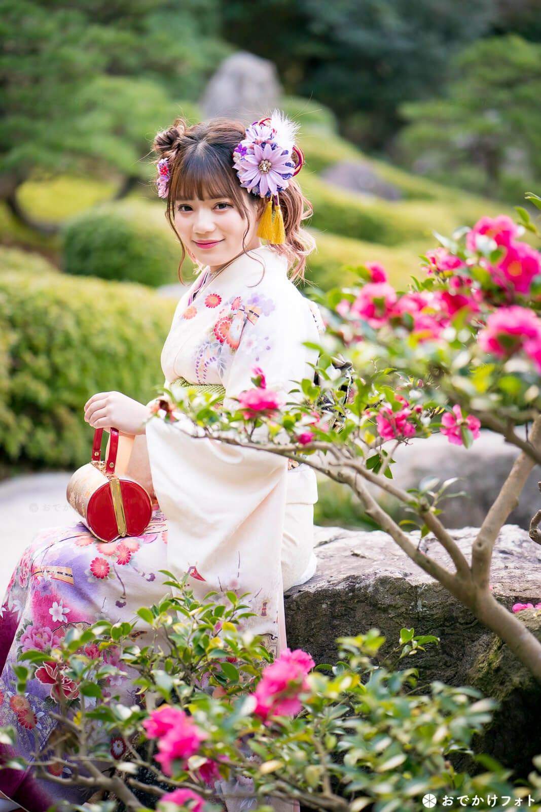 福岡市大濠公園日本庭園で成人式のロケーション前撮り