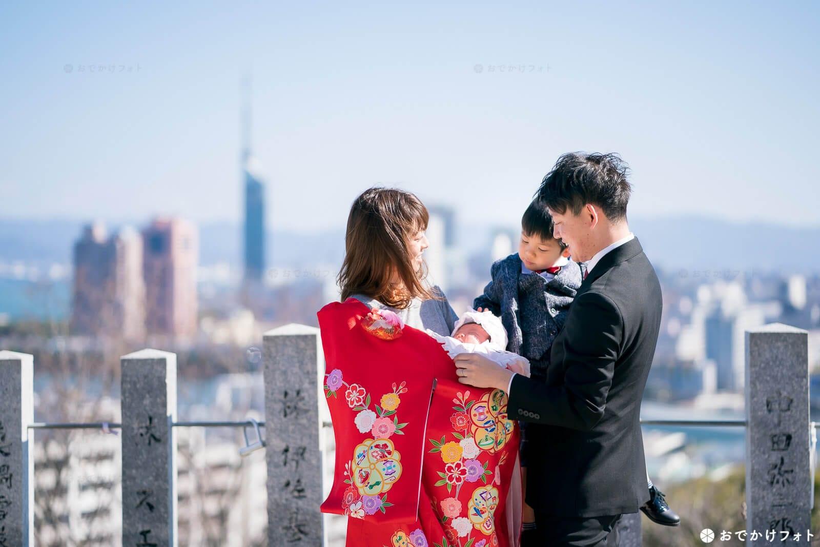 福岡愛宕神社でお宮参り写真のロケーションフォト出張撮影