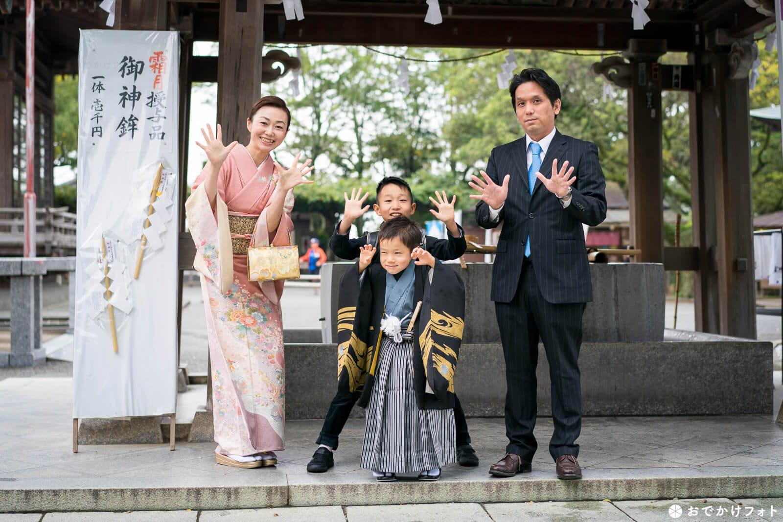 宮地嶽神社で七五三手水でお清め