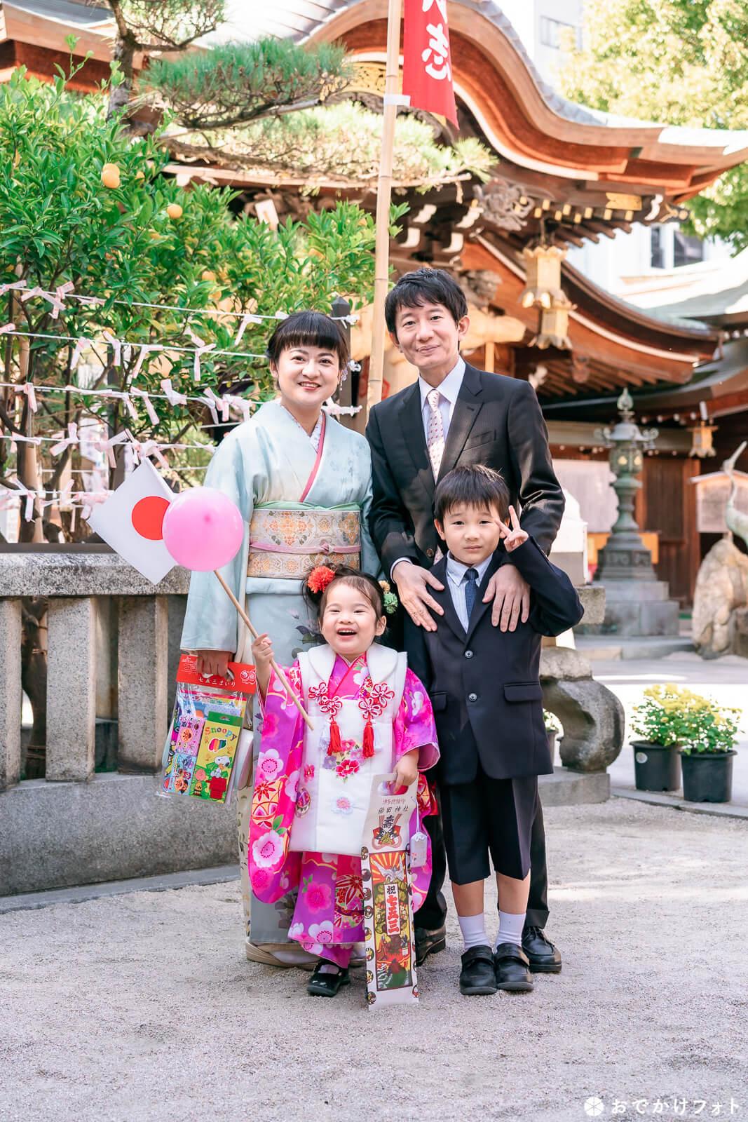 櫛田神社で七五三の出張撮影