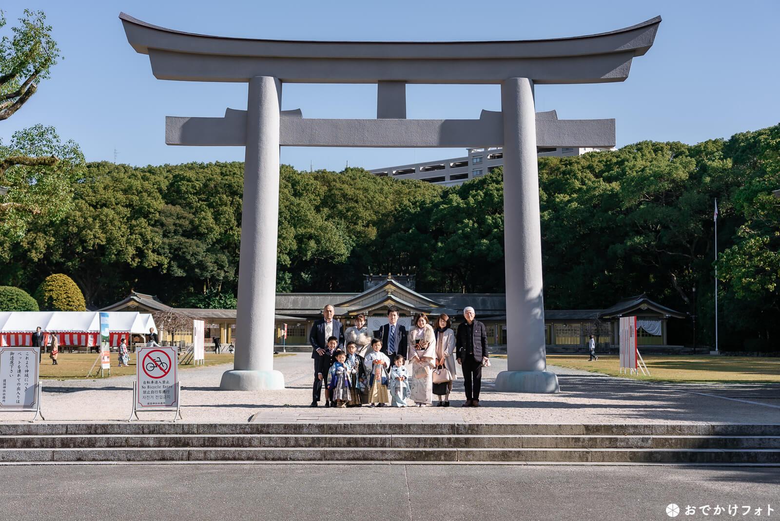 福岡縣護国神社で七五三の出張撮影