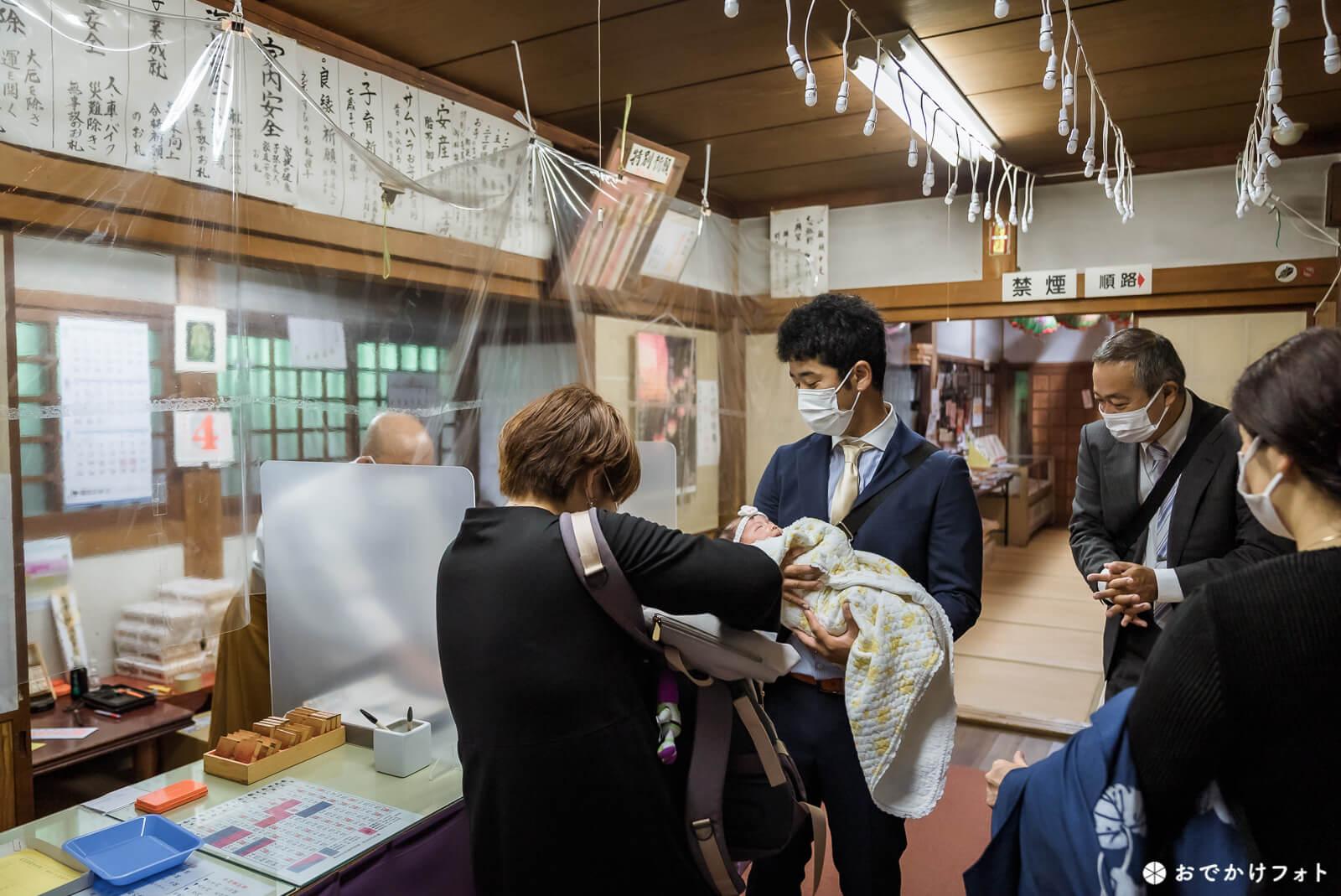 糸島仙如寺でお宮参りの出張撮影